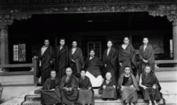 Sakya Trichen Rempooche seated at center and at right hand side is Dodrupchen Rimpooche at Tsuk la Khang - Mid 1960's